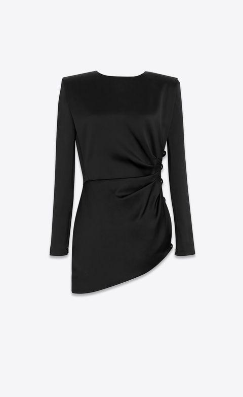 Clothing, Black, Sleeve, Shoulder, Outerwear, Dress, Neck, Little black dress, Cocktail dress, Blouse,