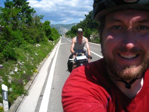 Vehicle, Travel, Vacation, Asphalt, Road, Recreation, Tree, Helmet, Photography, Selfie,