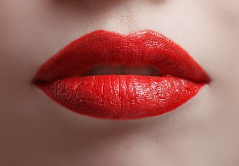 Lip, Red, Lipstick, Mouth, Orange, Close-up, Lip gloss, Material property, Cosmetics, Tints and shades,