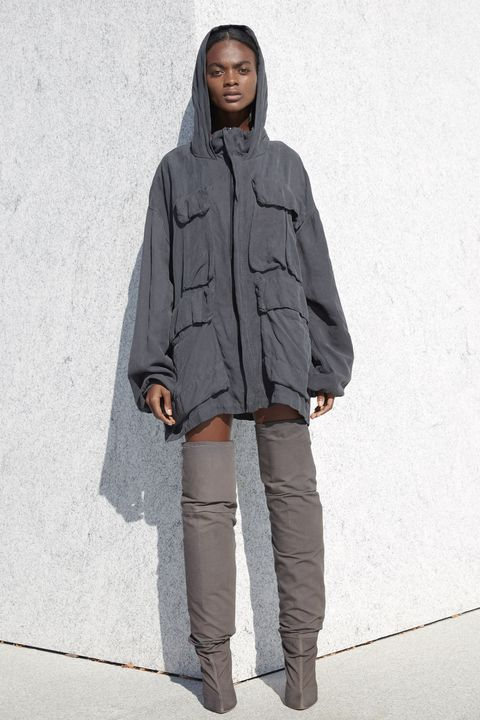 Clothing, Sleeve, Textile, Outerwear, Standing, Style, Street fashion, Knee, Grey, Pocket,
