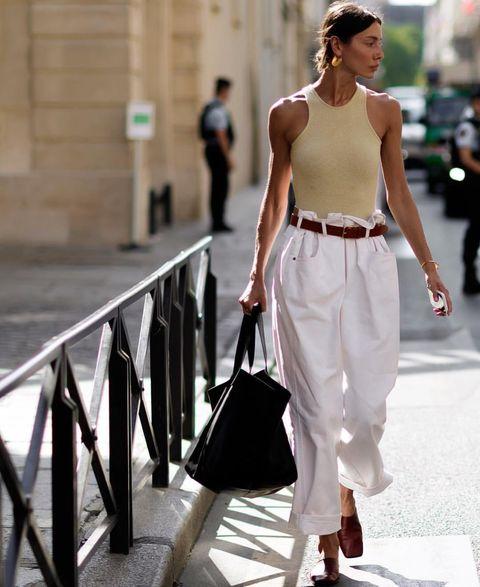 White, Clothing, Street fashion, Fashion model, Fashion, Shoulder, Waist, Snapshot, Black-and-white, Leg,