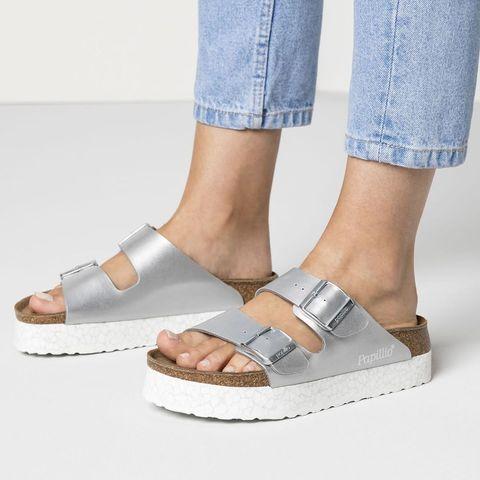 Footwear, Shoe, Slipper, Sandal, Ankle, Leg, Human leg, Slingback, Beige, Denim,