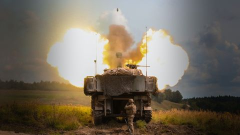 Combat vehicle, Military vehicle, Vehicle, Tank, Mode of transport, Explosion, Self-propelled artillery, Smoke, Armored car, Dust,