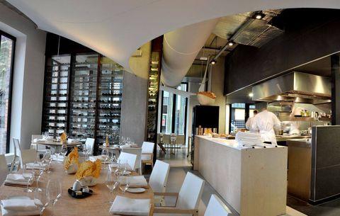 Restaurant, Interior design, Building, Table, Room, Architecture, Furniture, Design, Ceiling, Brunch,