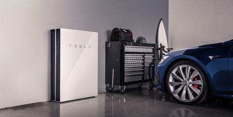 Tesla Powerwall in garage