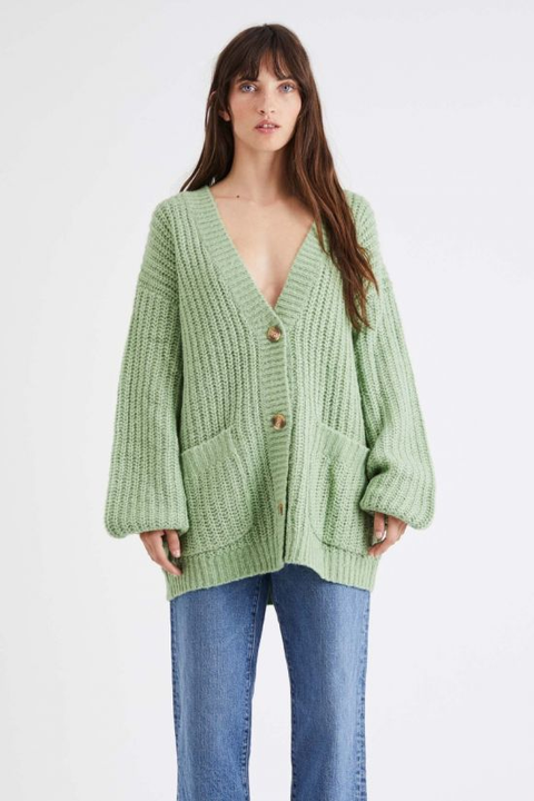 Clothing, Outerwear, Green, Sleeve, Sweater, Cardigan, Neck, Top, Button, Jacket,