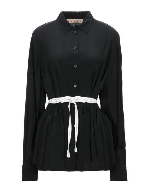 marni 黑色綁帶襯衫