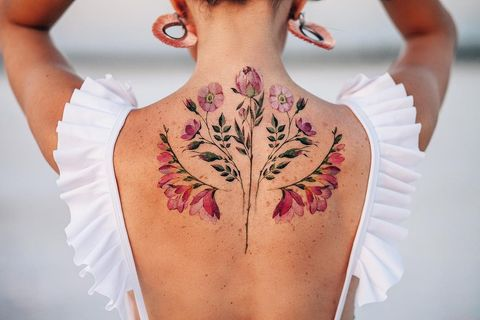 Shoulder, Skin, Neck, Temporary tattoo, Pattern, Joint, Tattoo, Arm, Design, Back,