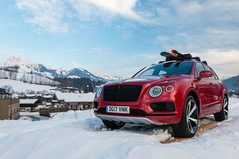Land vehicle, Vehicle, Car, Luxury vehicle, Bentley, Regularity rally, Motor vehicle, Snow, Winter, Automotive design,