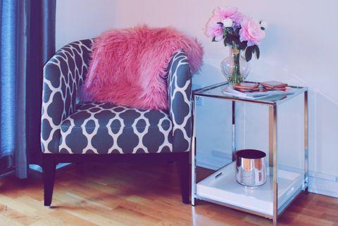 Furniture, Room, Pink, Interior design, Bed, Bedroom, Property, Purple, Floor, studio couch,