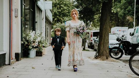Photograph, White, Street fashion, Fashion, Dress, Wedding dress, Shoulder, Architecture, Floral design, Bride,