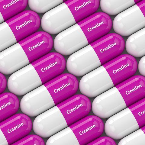 3d render of creatine pills in row