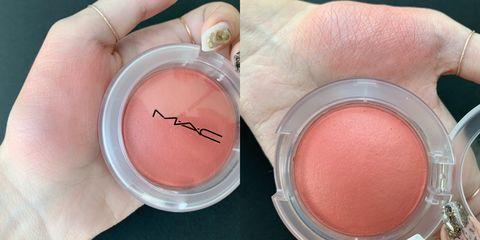 Pink, Peach, Skin, Cosmetics, Cheek, Eye, Lip, Material property, Eye shadow, Powder,