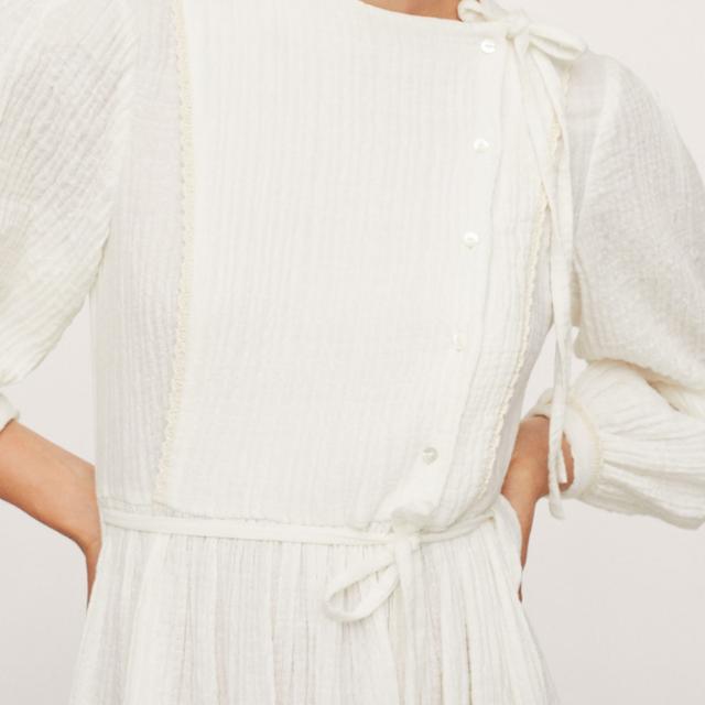 mango vestido blanco popelín