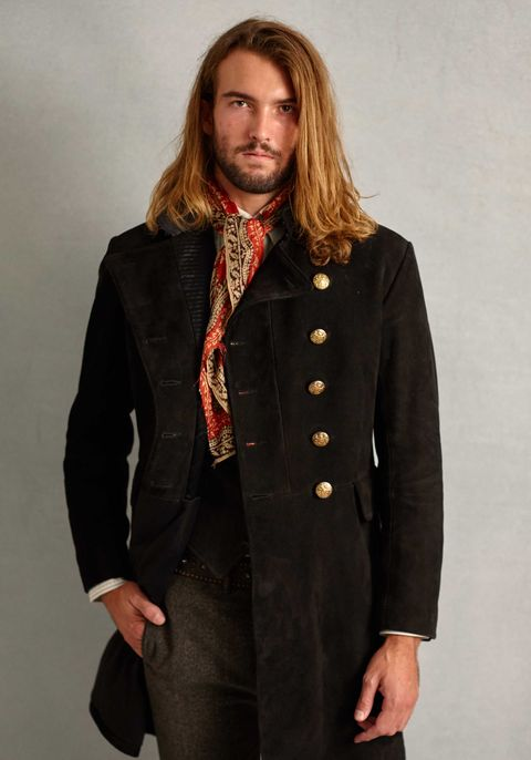 Clothing, Coat, Overcoat, Outerwear, Fashion, Hairstyle, Suit, Trench coat, Long hair, Jacket,