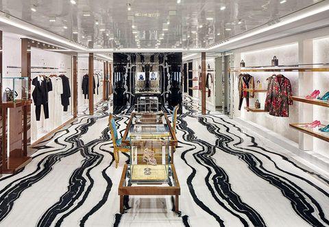 Building, Interior design, Boutique, Room, Floor, Fashion, Lobby, Architecture, Flooring, Ceiling,