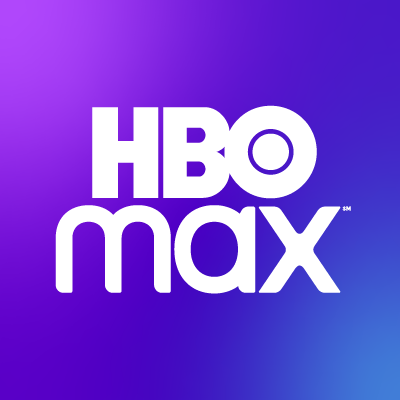 hbo max lettering in white on a purple and blue gradient background