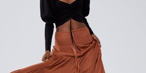 Zara falda larga marron