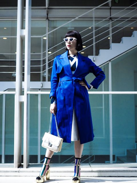 Cobalt blue, Blue, Clothing, Street fashion, Electric blue, Fashion, Trench coat, Coat, Outerwear, Footwear,