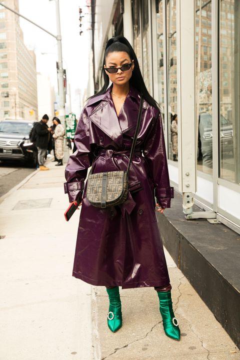 Street fashion, Clothing, Photograph, Fashion, Trench coat, Purple, Coat, Snapshot, Outerwear, Eyewear,