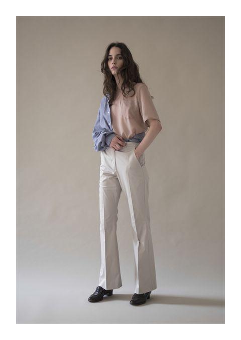 Clothing, White, Beige, Standing, Fashion model, Khaki, Fashion, Waist, Jeans, Trousers,