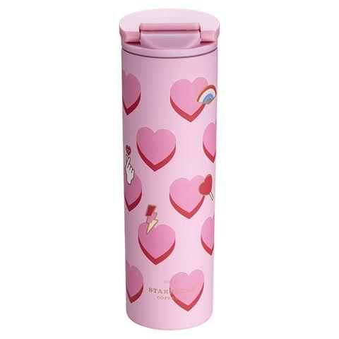 Pink, Drinkware, Water bottle, Tumbler, Heart, Bottle, Cylinder, Tableware, Plastic, Home accessories,