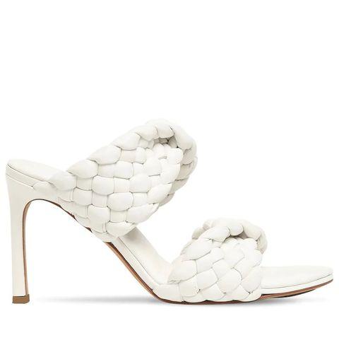 bottega veneta白色編織皮革高根涼拖鞋