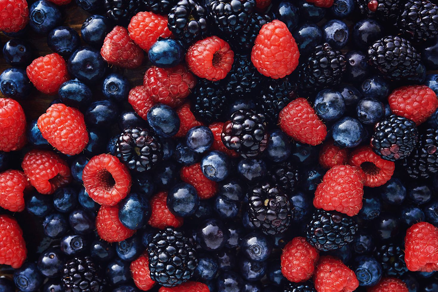 Blueberries raspberries and blackberries