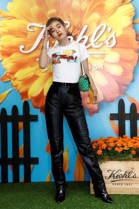 Denim, Orange, Fashion accessory, Leather, Boot, Costume accessory, Wing, Costume, Fashion model, Abdomen,
