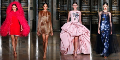 Fashion model, Fashion, Clothing, Haute couture, Pink, Dress, Fashion show, Cocktail dress, Fashion design, Runway,
