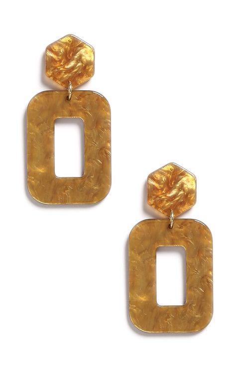 Earrings, Jewellery, Fashion accessory, Gold, Gemstone, Rectangle, Amber, Metal, Jewelry making,