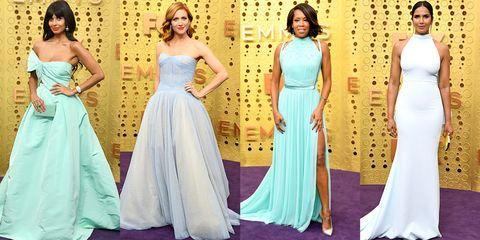 Gown, Dress, Clothing, Shoulder, Formal wear, Bridal party dress, Fashion model, Purple, Fashion, Yellow,