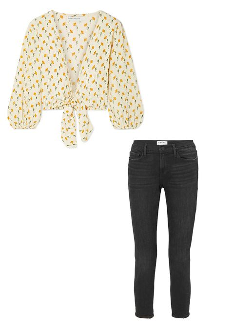 Clothing, White, Yellow, Sleeve, Outerwear, Trousers, Jeans, Beige, T-shirt, Denim,