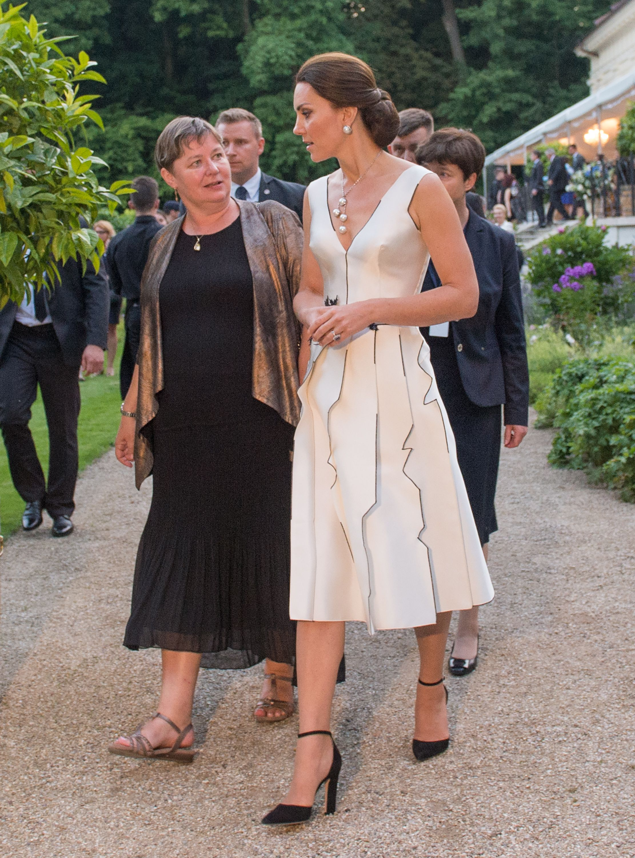 Shop Now Gianvito Rossi D'Orsay Sandals, $795 Kate swapped her go-to pumps for a pair of Gianvito Rossi D'Orsay Sandals for the Queen's Birthday Garden Party during an official visit to Poland and Germany in July 2017.