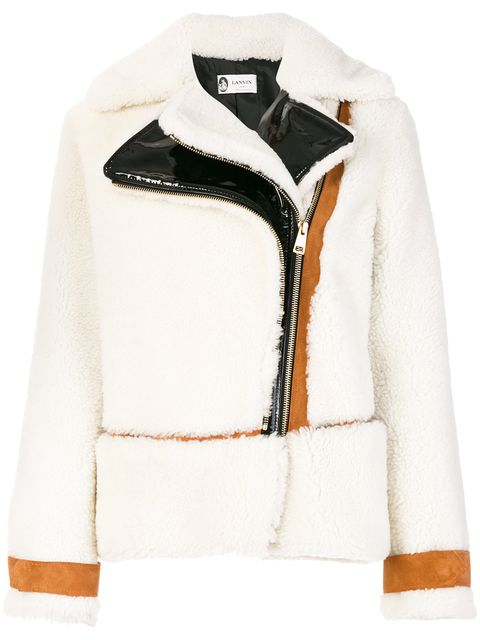 Clothing, White, Sleeve, Outerwear, Jacket, Fur, Leather, Collar, Leather jacket, Beige,