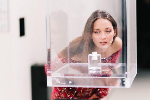 Lip, Pink, Glass, Transparent material, Eyelash, Perfume, Magenta, Material property, Brown hair, Cosmetics,