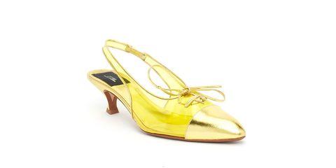 Footwear, Slingback, Yellow, Sandal, Shoe, High heels, Dress shoe, Beige, Bridal shoe,