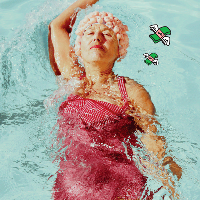 a woman swimming in a pool