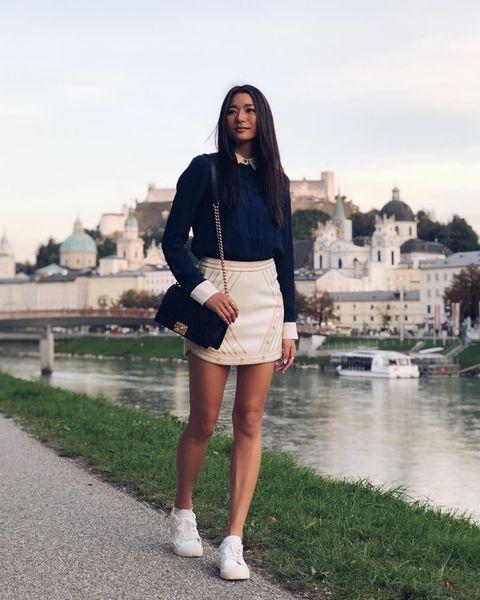 Photograph, Street fashion, White, Clothing, Shorts, Fashion, Snapshot, Brown, Footwear, Leg,