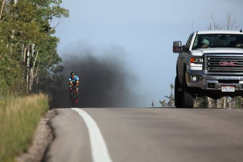 Caught on Camera: Truck Driver 'Rolls Coal' on Cyclist