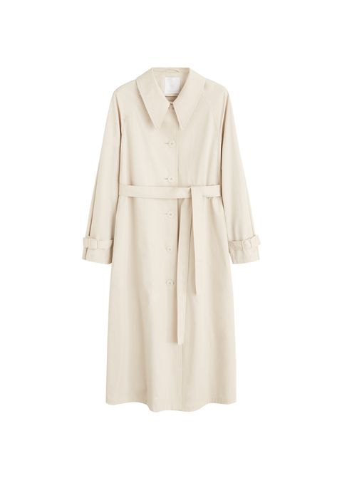 Clothing, Robe, Trench coat, Dress, Beige, Sleeve, Outerwear, Coat, Collar, Day dress,