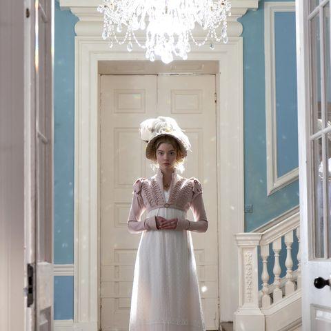 White, Room, Dress, Child, Door, Interior design, Light fixture, Gown,