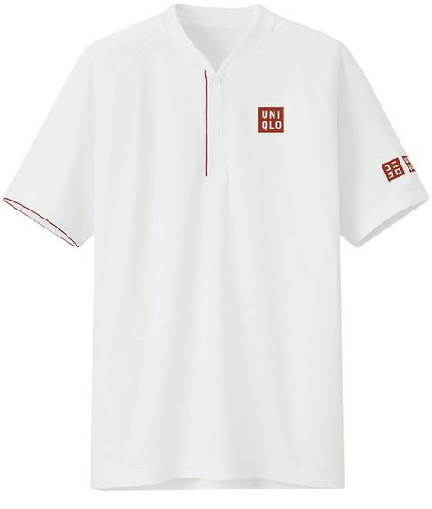 White, Clothing, T-shirt, Sleeve, Polo shirt, Collar, Sports uniform, Active shirt, Line, Font,