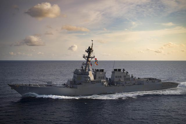 180329 n ia905 2078 indian ocean march 29, 2018 the arleigh burke class guided missile destroyer uss preble ddg 88 transits the indian ocean preble is currently underway with the theodore roosevelt carrier strike group for a regularly scheduled deployment in the us 7th fleet area of operations in support of maritime security operations and theater security cooperation efforts us navy photo by mass communication specialist 3rd class morgan k nallreleased