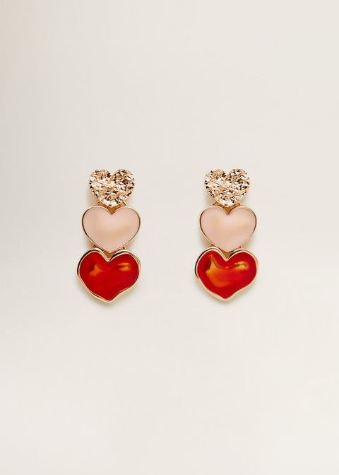 Earrings, Jewellery, Red, Fashion accessory, Body jewelry, Gemstone, Heart, Pearl, Heart,