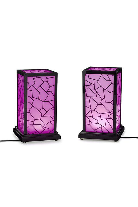 Violet, Purple, Magenta, Lighting, Glass, Table, Stained glass, Candle holder, Window, Lantern,