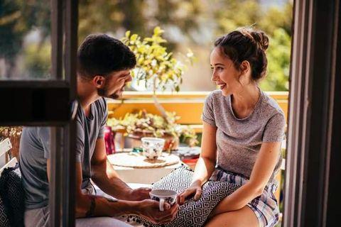 Sitting, Conversation, Human, Interaction, Happy, Fun, Leisure, Photography, Black hair, Romance,