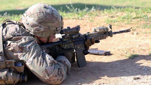 Gun, Soldier, Firearm, Rifle, Machine gun, Military, Army, Military organization, Military camouflage, Trigger,