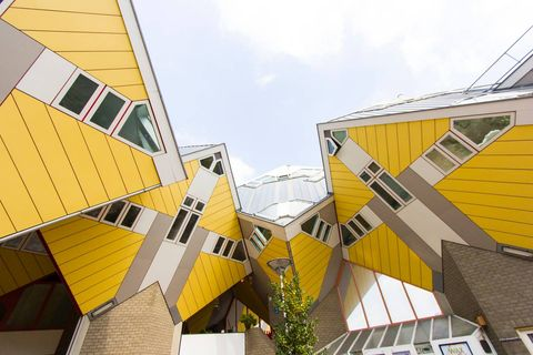 Yellow, Architecture, Daytime, Sky, Orange, Line, Urban area, Facade, House, Building,