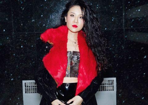 Red, Lip, Fashion, Black hair, Outerwear, Textile, Photography, Fur, Photo shoot, Performance,